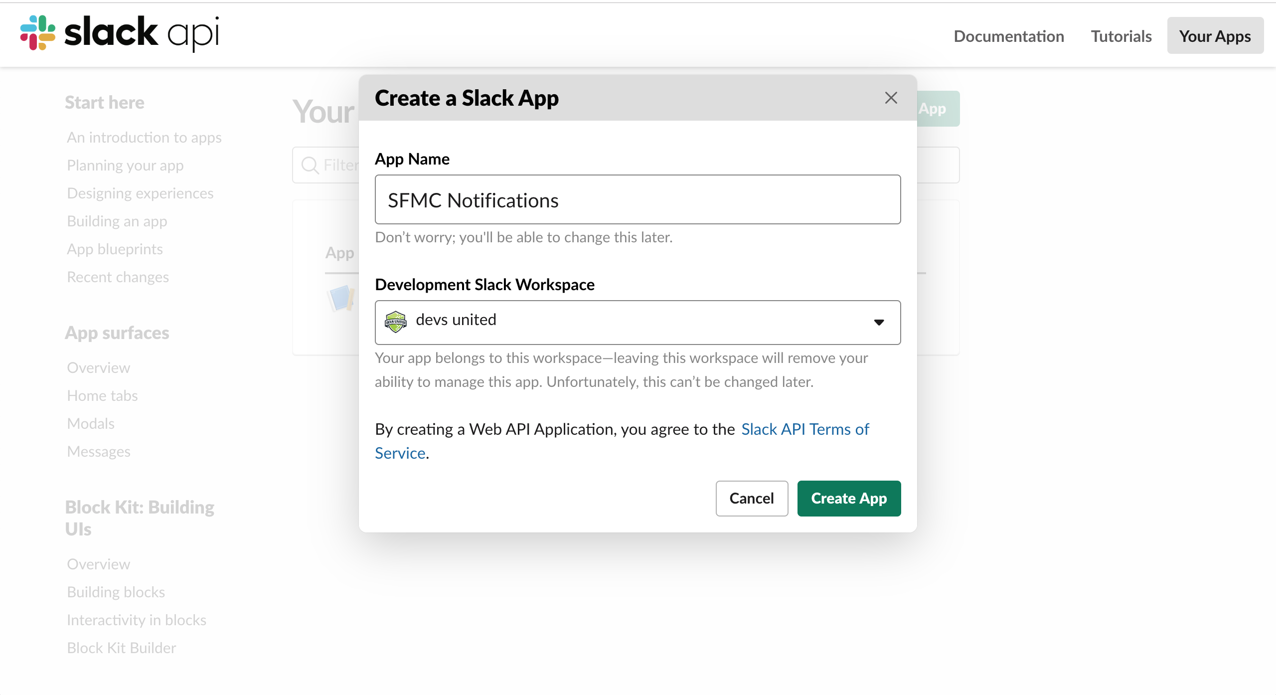 Creating a new Slack App